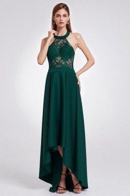 Elegant Halter Green Lace...