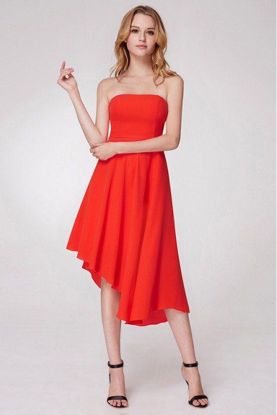 Asymmetrical Hem Orange Party Dress In Tea Length