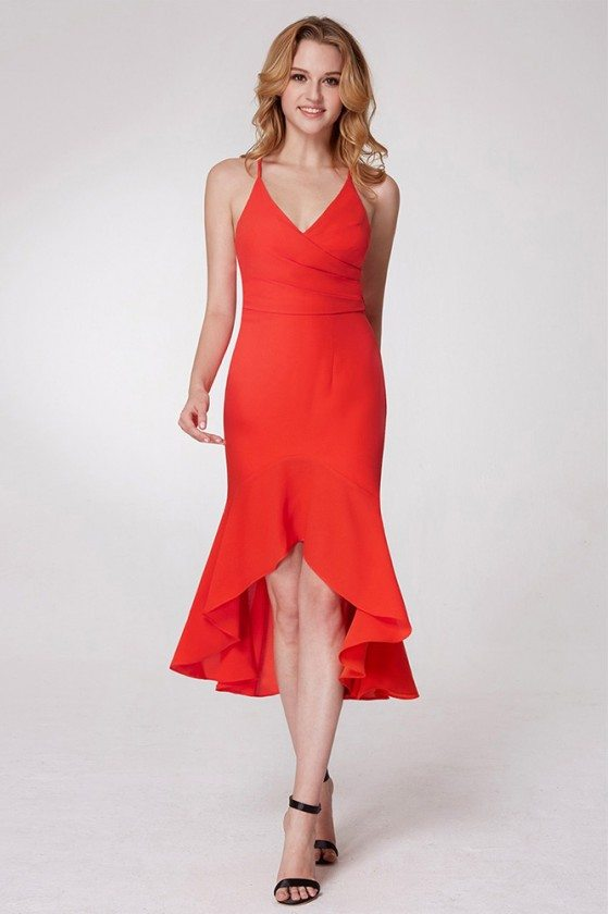 Short Hi Low Orange Fitted Prom Dress With Adjustable Straps