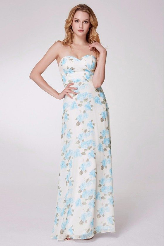 Strapless Blue Floral Print Long Party Dress For Prom