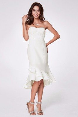 Split Front Sexy White Lace Prom Dress in Train Length shd276