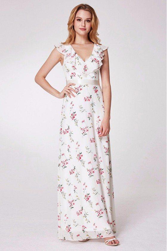 Floral Print Long Chiffon Bridesmaid Dress White With Pink