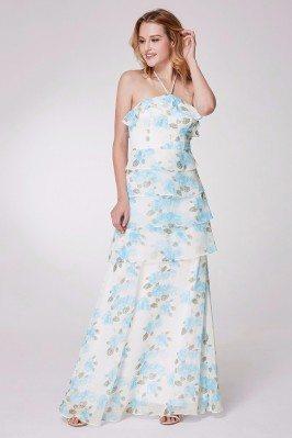 Blue Floral Print Long...