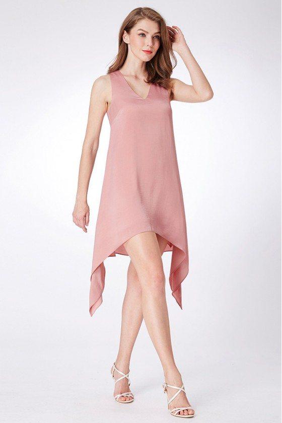 Pink Short Simple Chiffon V Neck Summer Casual Dress