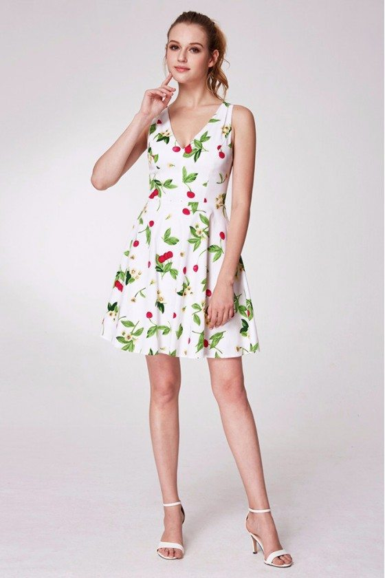 Simple Green Printed Cocktail Prom Dress With Straps