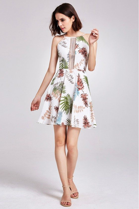 Special Printed Hollow Out Short Casual Dress