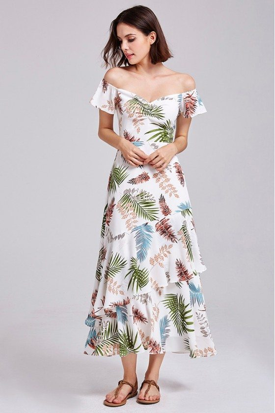 Tea Length Layered Printed Casual Dress Off Shoulder Sleeves
