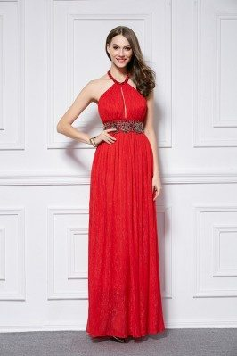 Red Empire Waist Long Halter Open Back Dress