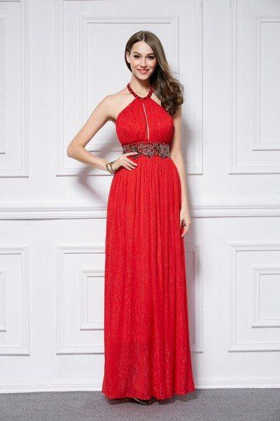 Red Empire Waist Long Halter Open Back Dress
