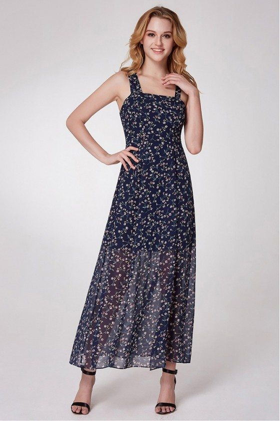 Maxi Navy Blue Flora Print Summer Casual Dress With Straps
