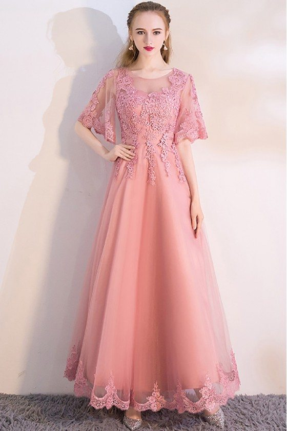 Pink Aline Long Party Dress with Appliques Puffy Sleeves