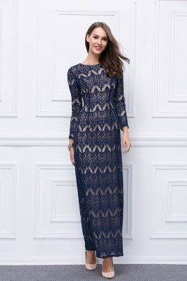 Vintage Lace Round Neck Long Sleeve Ball Gown