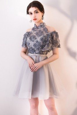 Women's Unusual Dark Navy Blue Lace Formal Dresses for Special Occasions scy138
