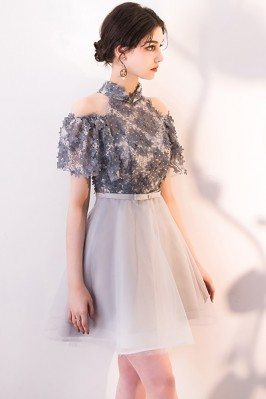 2015 Best Cute Pinkish Beaded Wedding Guest Dresses for Spring with Puffy Sleeves scy136