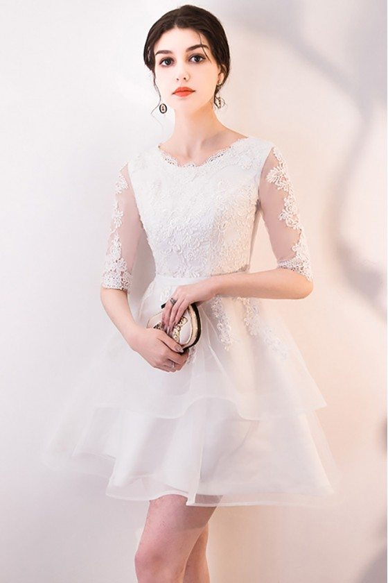 Short White Lace Ruffled Homecoming Dress with Half Sleeves