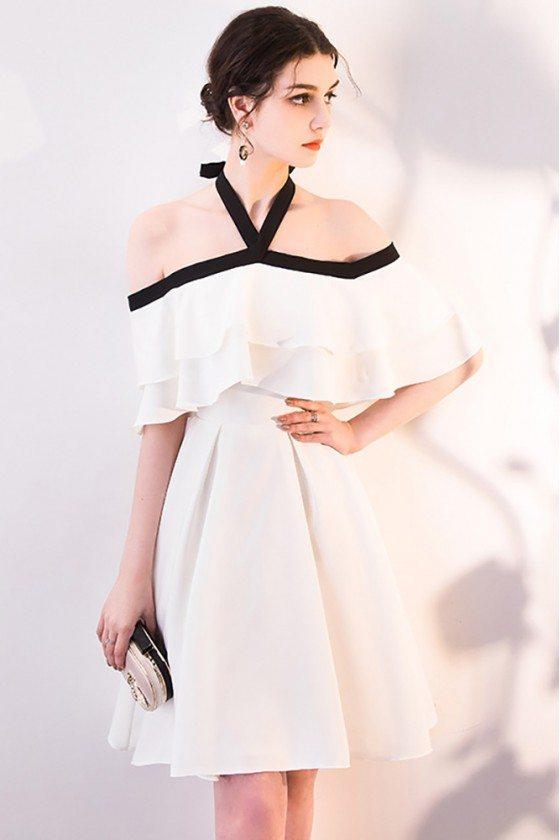 White Aline Short Halter Homecoming Party Dress Off Shoulder