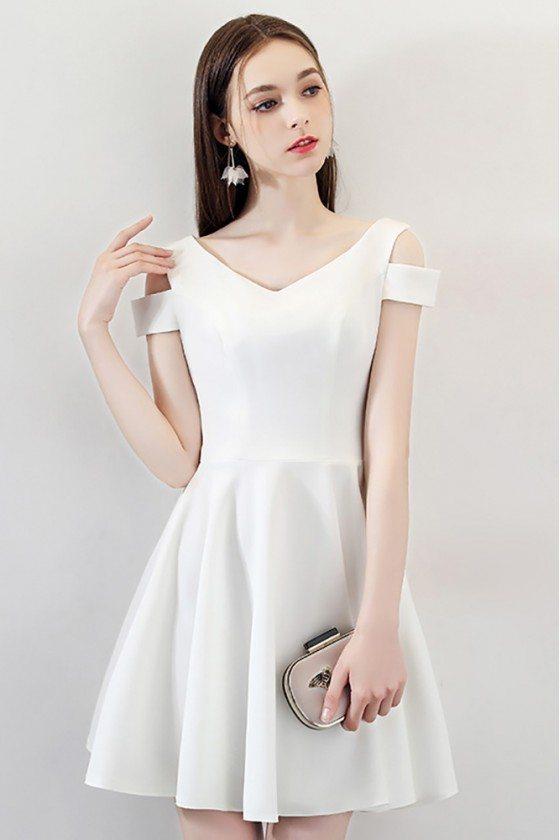 Simple Little White Short Homecoming Dress Cold Shoulder