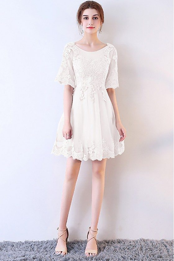 Short White Lace Aline Homecoming Dress with Sleeves