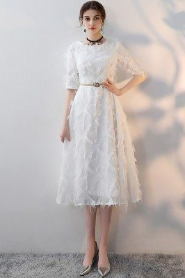 White Feathers Midi Length...