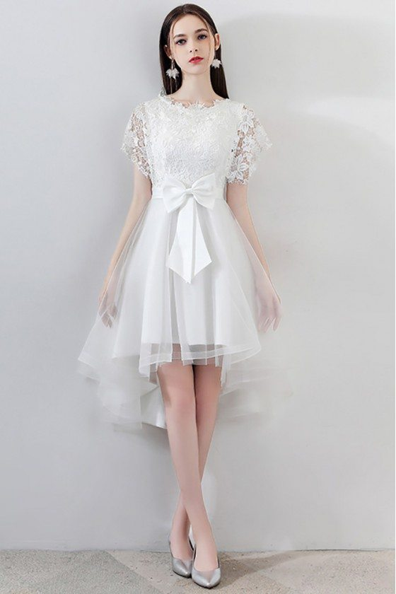 Gorgeous White Tulle Homecoming Dress High Low with Big Bow