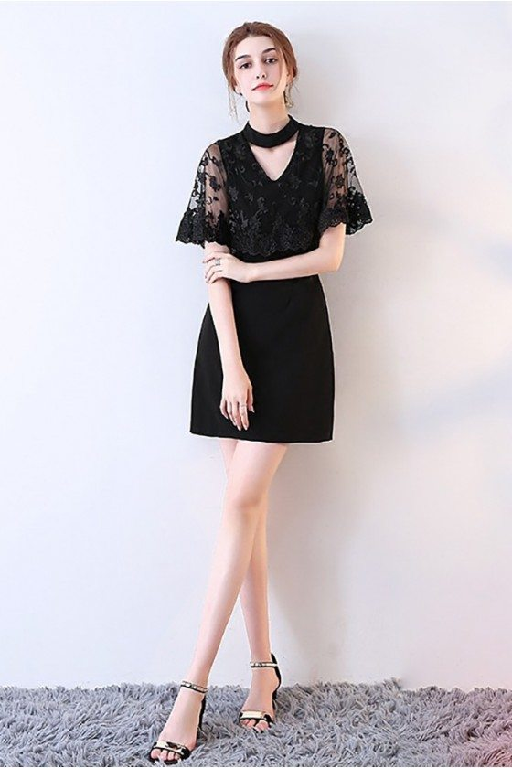 Sheath Little Black Lace Cocktail Dress with Cape