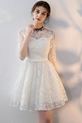White Embroidered Aline...