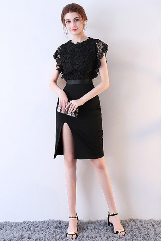 Sexy Fitted Side Slit Black Party Dress with Lace