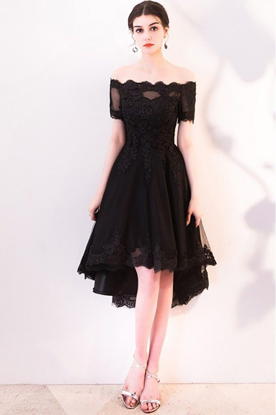 Black Lace Off Shoulder Homecoming Dress High Low with Sleeves