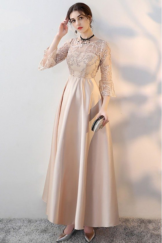 Champagne Long Formal Dress Aline with 3/4 Sleeves