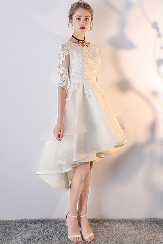 Light Champagne Lace Ruffled Homecoming Party Dress with Sleeves