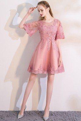 Pink Lace Short Homecoming...