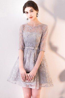 Grey Short Homecoming Dress...