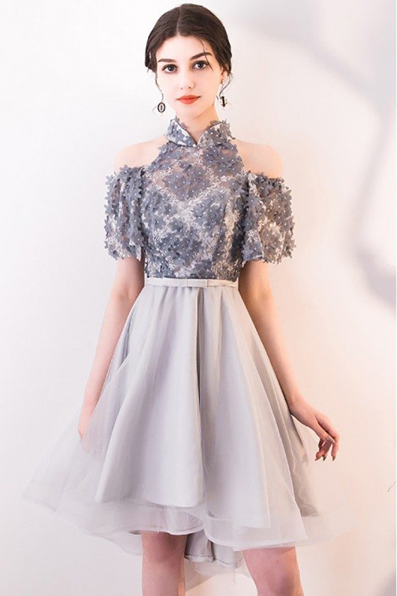 Cute Grey Cold Shoulder Homecoming Dress with Flowers
