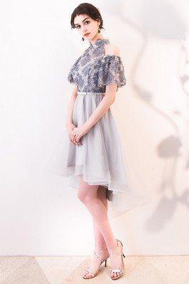 Women's Modest Sleeved Knee Length White Dresses in Full Lace dk212