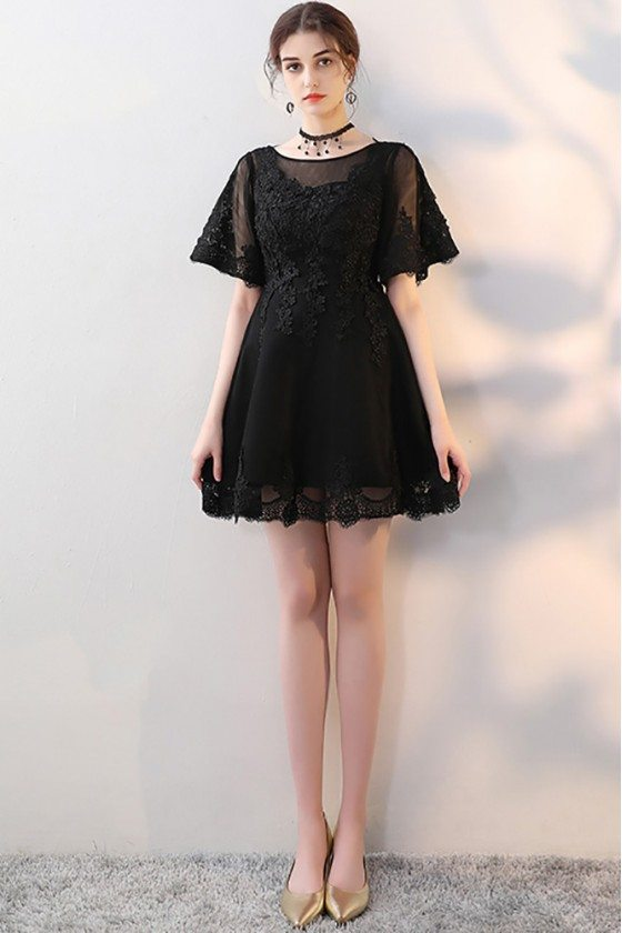 Little Black Aline Lace Homecoming Dress with Sleeves