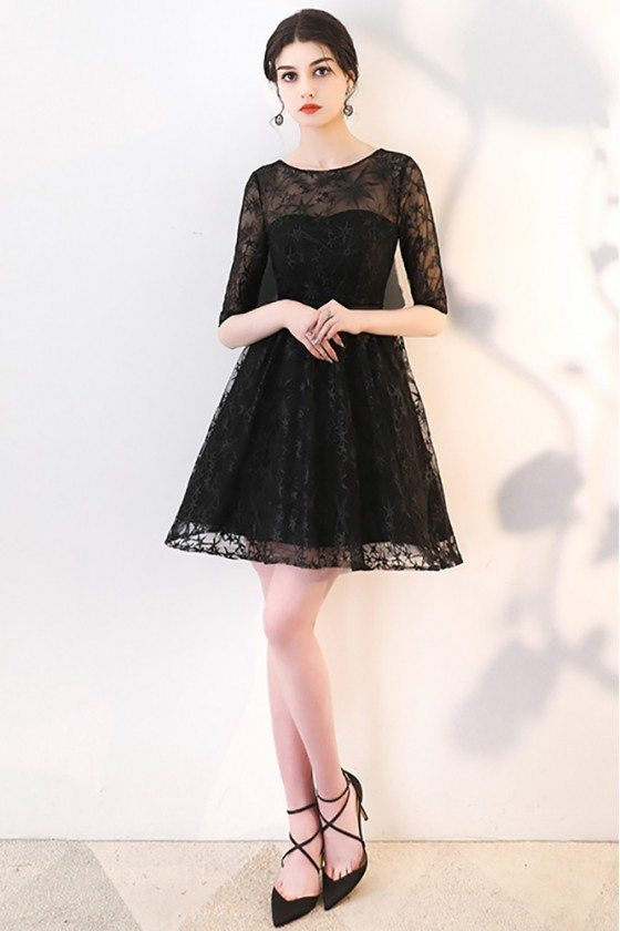 Short Black Homecoming Dress Lace with Sheer Sleeves