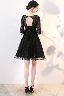 Unique Elegant Black Long Lace Dress for Mature Women ck352