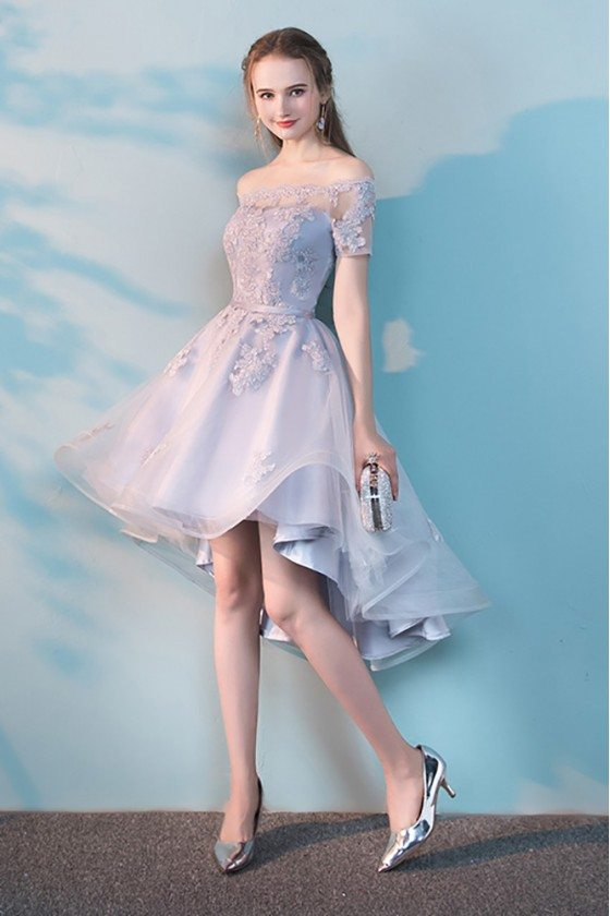 Grey High Low Off Shoulder Homecoming Dress with Lace