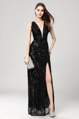 Sexy Black Sequin Deep V-neck Slit Prom Evening Dress