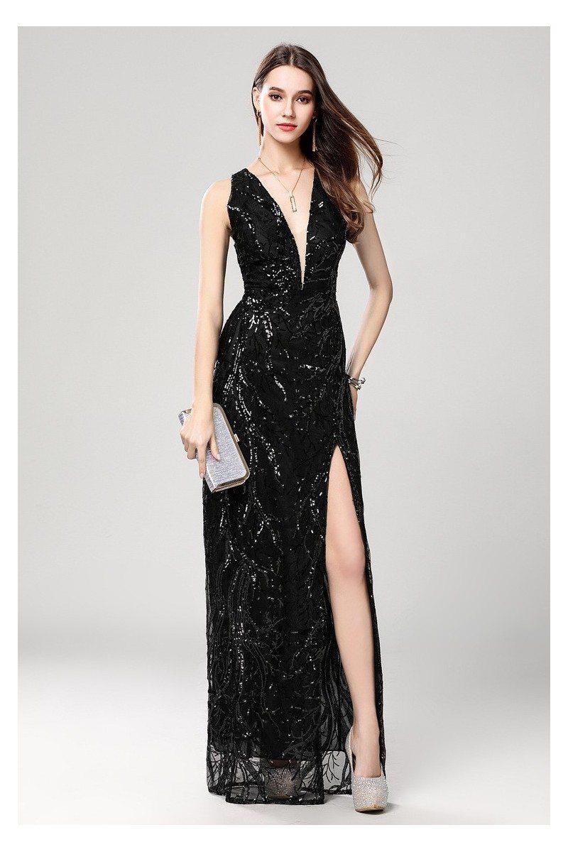 Sexy Black Sequin Deep V-neck Slit Prom Evening Dress - $119 #CK644 ...