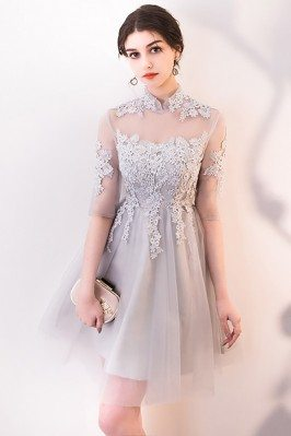 Unique Lace Sleeved Chiffon Prom Dresses for Women White and Blue DK225