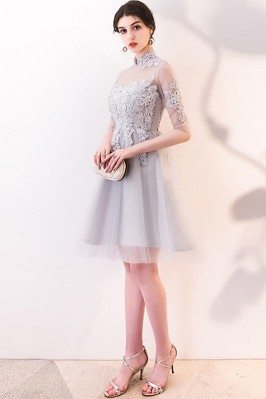 Simple Chiffon Lilac Chiffon Short Bridesmaid Dresses DK227