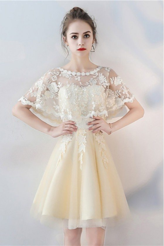 Champagne Tulle Short Party Dress with Lace Cape Sleeves