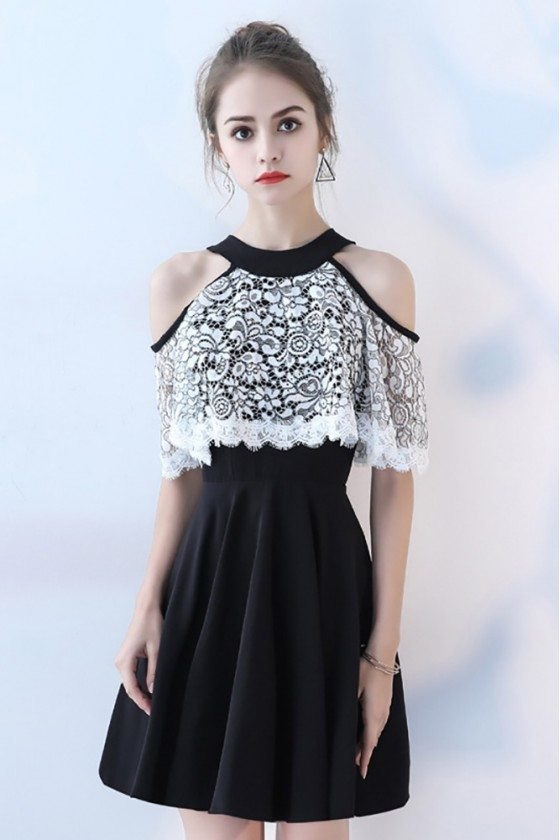 Black with White Lace Short Halter Homecoming Dress