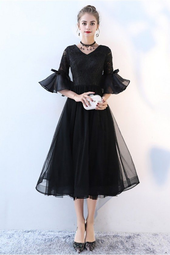Lace Vneck Tulle Black Homecoming Dress with Trumpet Sleeves