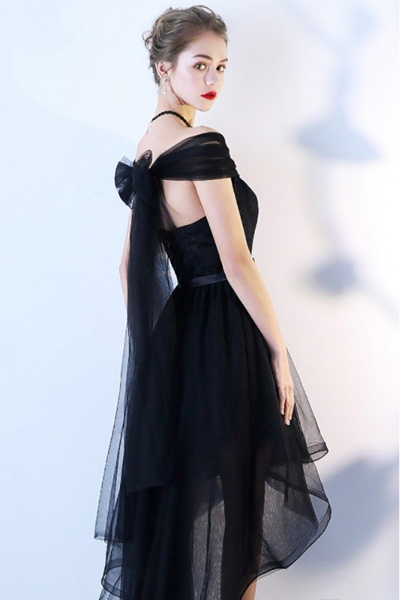 Black Tulle High Low Homecoming Dress Off Shoulder Sleeves 6715