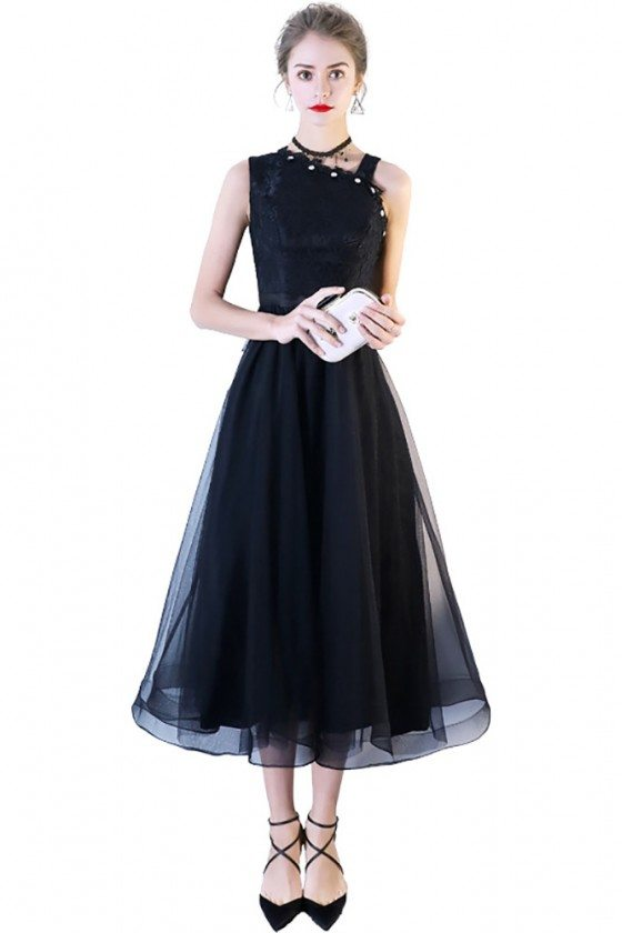 Black Lace Tulle Midi Party Dress with Irregular Shoulder
