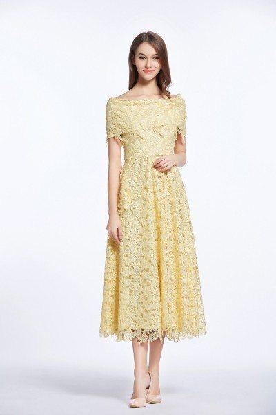 High-end Lace Off Shoulder Tea Length Dress