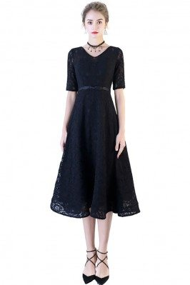 Black Long Sleeved Lace Dresses in Short Length DK240