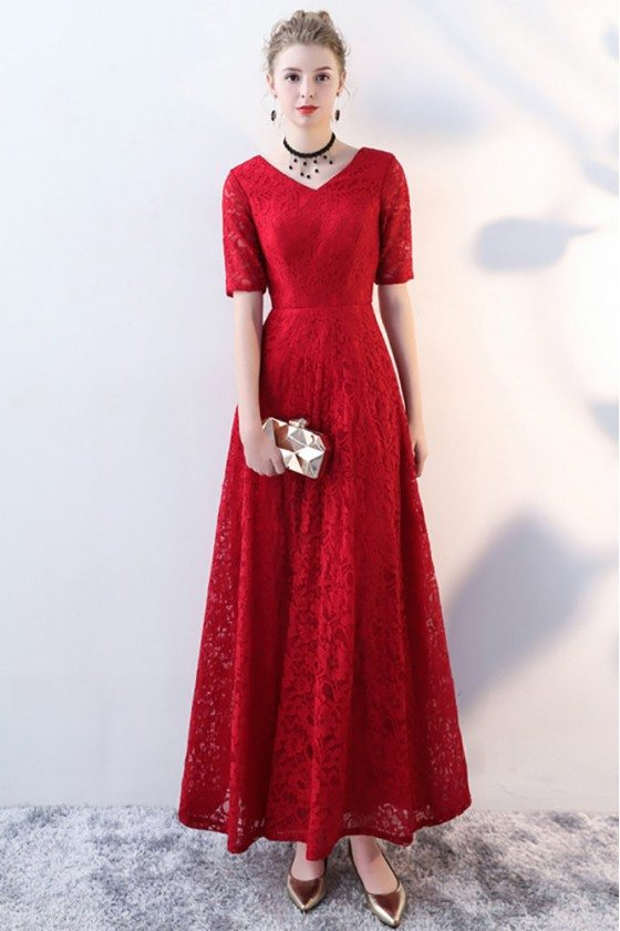Burgundy Long Lace Formal Party Dress V-neck with Sleeves